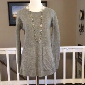 J. Crew 100% merino wool gray tunic sweater XXS